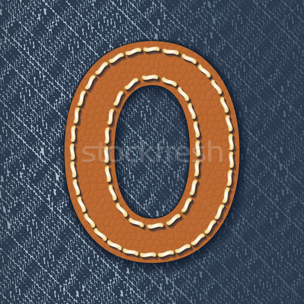 Number 0 made from leather on jeans background Stock photo © ojal