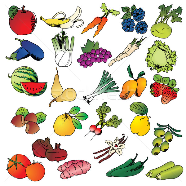 Freehand drawing fruits and vegetables icon set Stock photo © ojal
