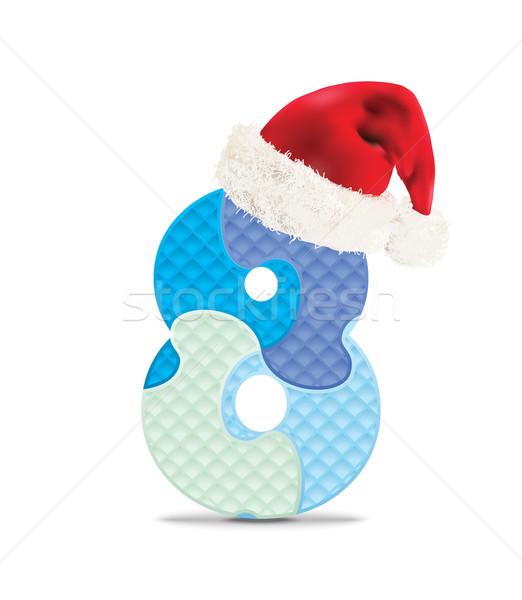 ストックフォト: 番号 · 書かれた · アルファベット · パズル · クリスマス · 帽子