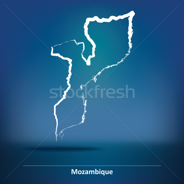Doodle Map of Mozambique Stock photo © ojal