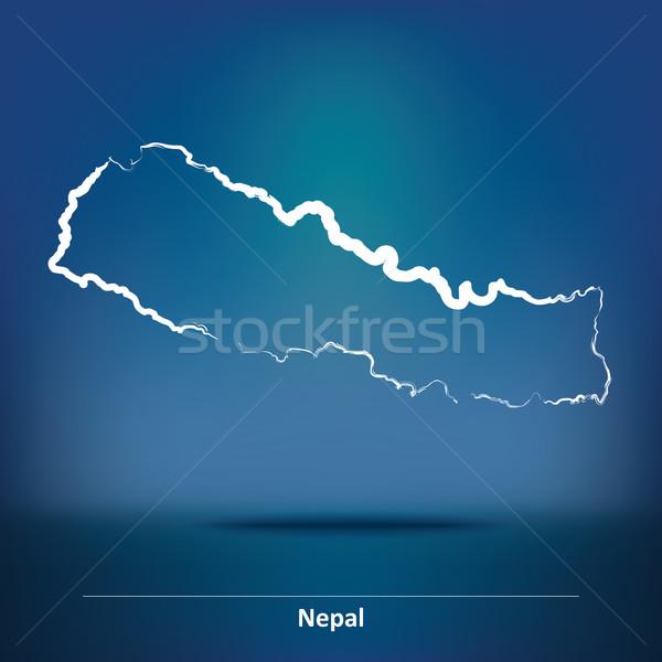 болван карта Непал дизайна путешествия силуэта Сток-фото © ojal
