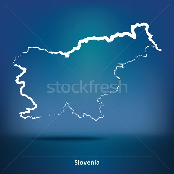 Doodle mappa Slovenia sfondo silhouette colore Foto d'archivio © ojal