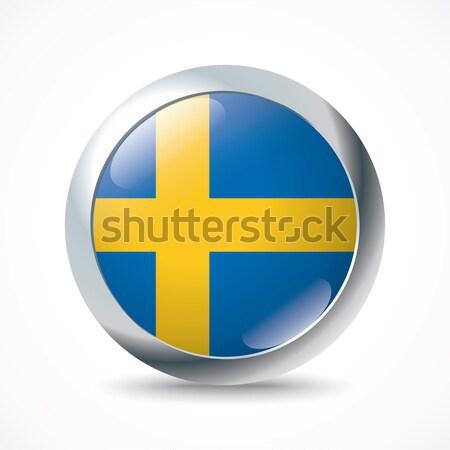 Suécia bandeira botão abstrato viajar silhueta Foto stock © ojal