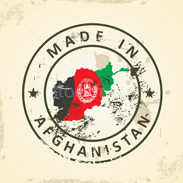 Stamp with map flag of Afghanistan Stock photo © ojal
