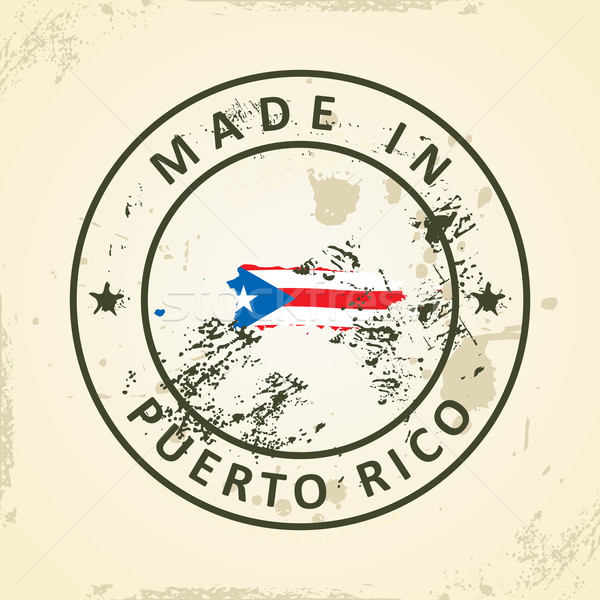 Stempel kaart vlag Puerto Rico grunge silhouet Stockfoto © ojal