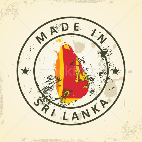 Bélyeg térkép zászló Sri Lanka grunge háttér Stock fotó © ojal