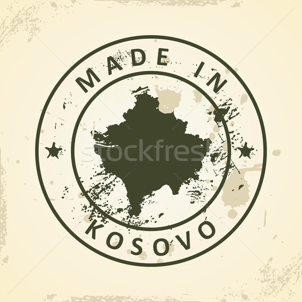 Stamp with map of Kosovo Stock photo © ojal