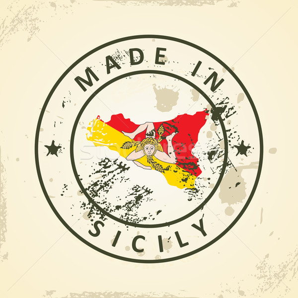 Stamp with map flag of Sicily Stock photo © ojal