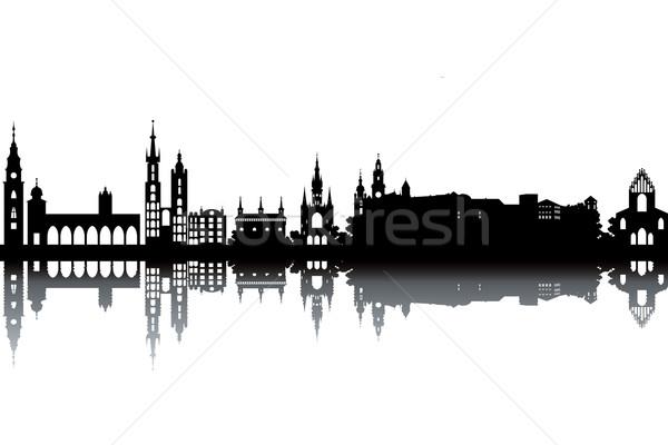 Krakkó sziluett feketefehér város templom utazás Stock fotó © ojal