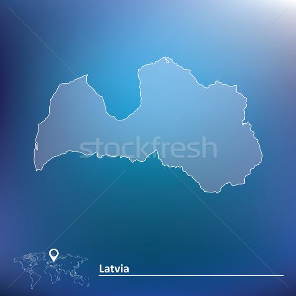 Térkép Lettország terv háttér utazás sziluett Stock fotó © ojal