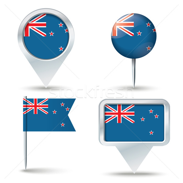 Map pins with flag of New Zealand Stock photo © ojal