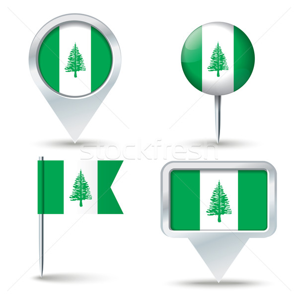 Map pins with flag of Norfolk Island Stock photo © ojal