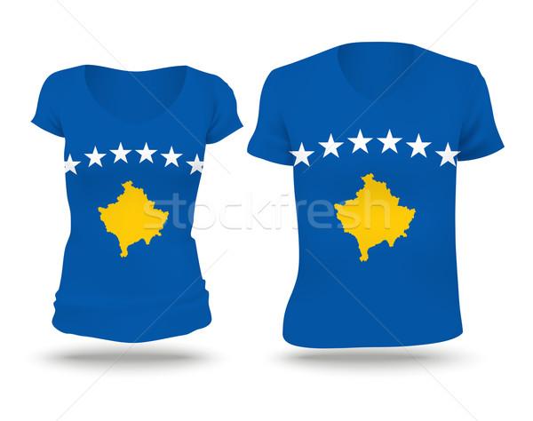 Bandeira camisas projeto Kosovo mulher homem Foto stock © ojal