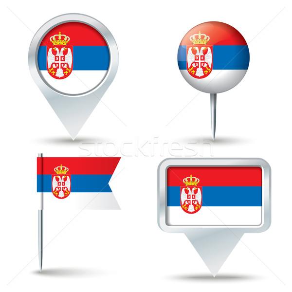 Harita bayrak Sırbistan iş yol beyaz Stok fotoğraf © ojal