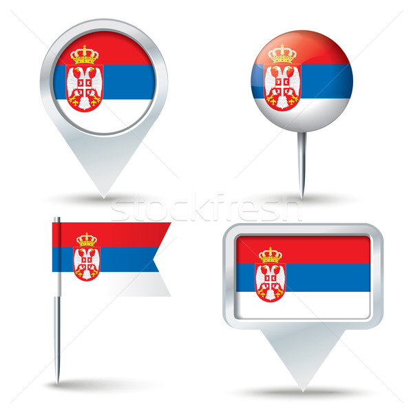 Mapa bandera Serbia negocios carretera blanco Foto stock © ojal