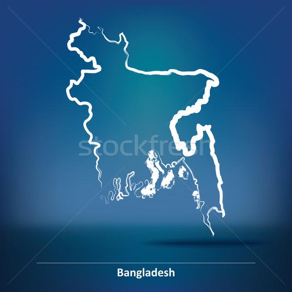 Firka térkép Banglades háttér utazás sziluett Stock fotó © ojal
