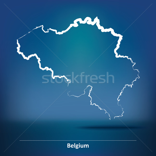 Doodle Map of Belgium Stock photo © ojal