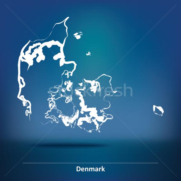 Doodle kaart Denemarken abstract achtergrond aarde Stockfoto © ojal
