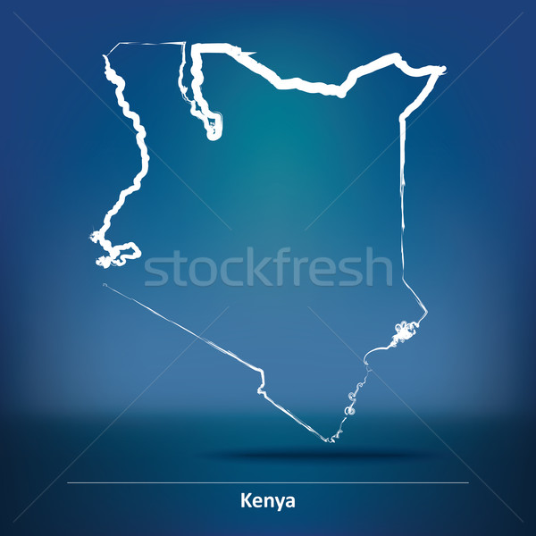 Doodle Map of Kenya Stock photo © ojal