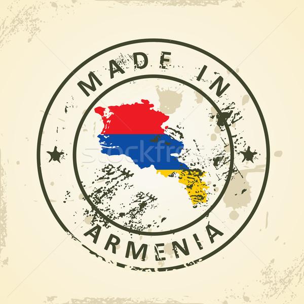 スタンプ 地図 フラグ アルメニア グランジ 世界 ストックフォト © ojal