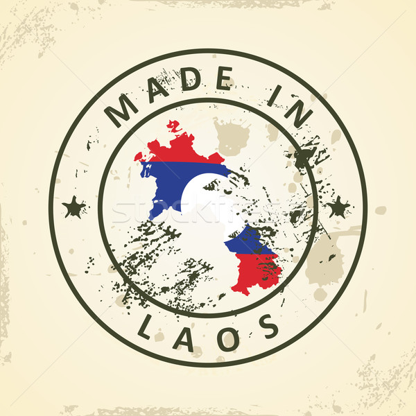 Stamp with map flag of Laos Stock photo © ojal