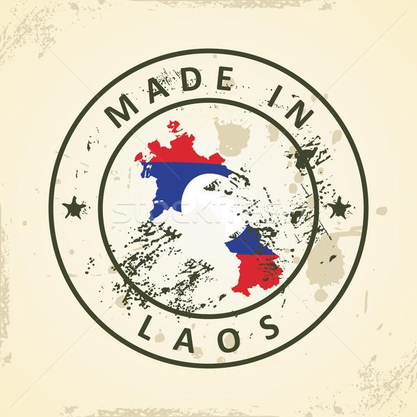 Stempel kaart vlag Laos grunge wereld Stockfoto © ojal