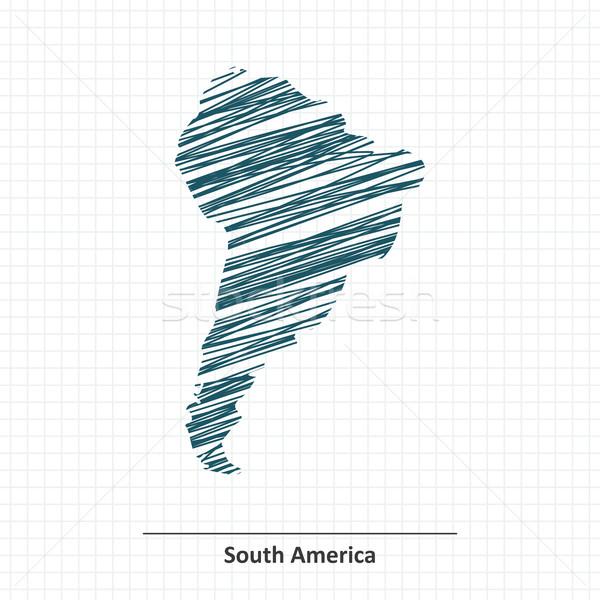 Doodle schets kaart papier wereld Stockfoto © ojal