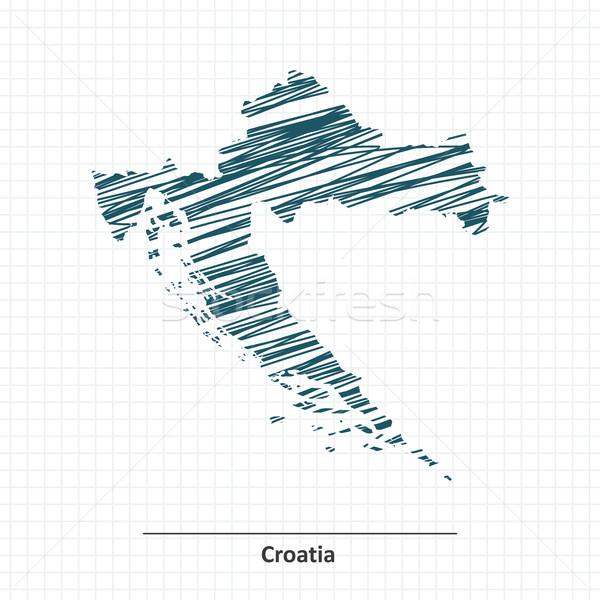 Garabato boceto Croacia mapa resumen diseno Foto stock © ojal