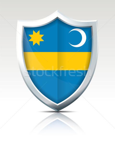 щит флаг дизайна искусства синий путешествия Сток-фото © ojal