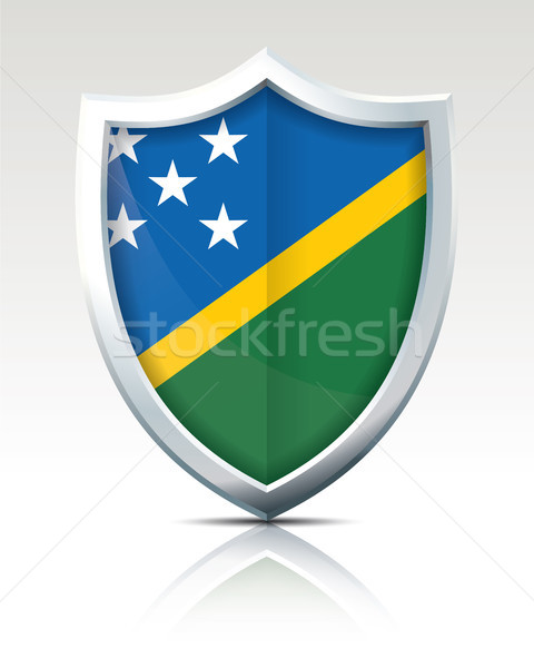 Shield with Flag of Solomon Islands Stock photo © ojal