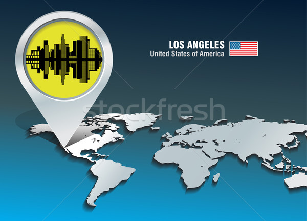 Carte broches Los Angeles Skyline bâtiment ville Photo stock © ojal