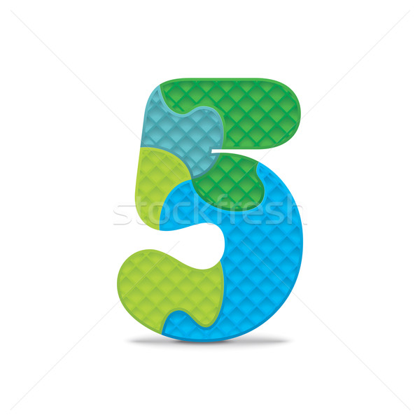 Vector number 5 written with alphabet puzzle Stock photo © ojal