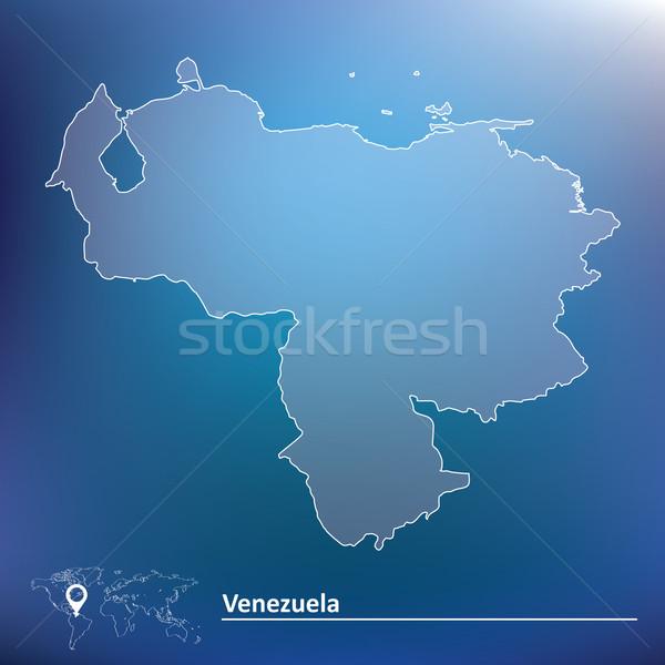 Kaart Venezuela wereld reizen kleur witte Stockfoto © ojal