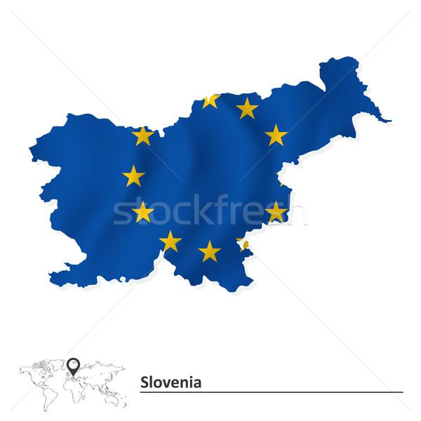 Harita Slovenya avrupa sendika bayrak soyut Stok fotoğraf © ojal