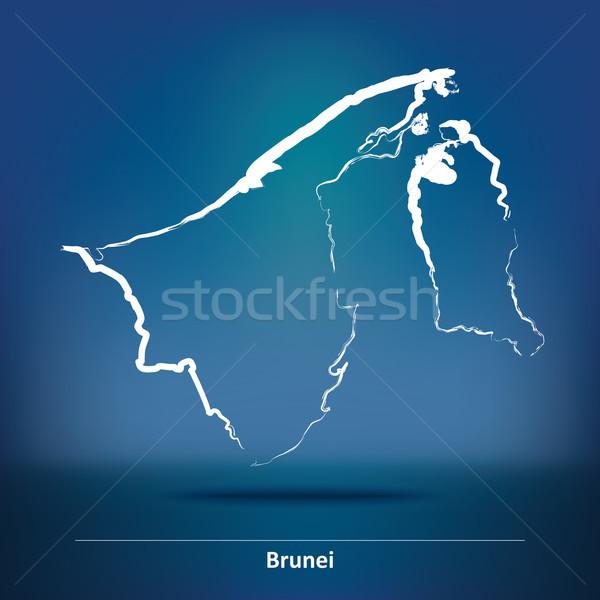 болван карта Бруней Мир путешествия черный Сток-фото © ojal