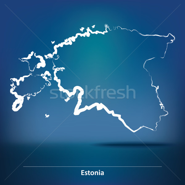 Doodle Map of Estonia Stock photo © ojal