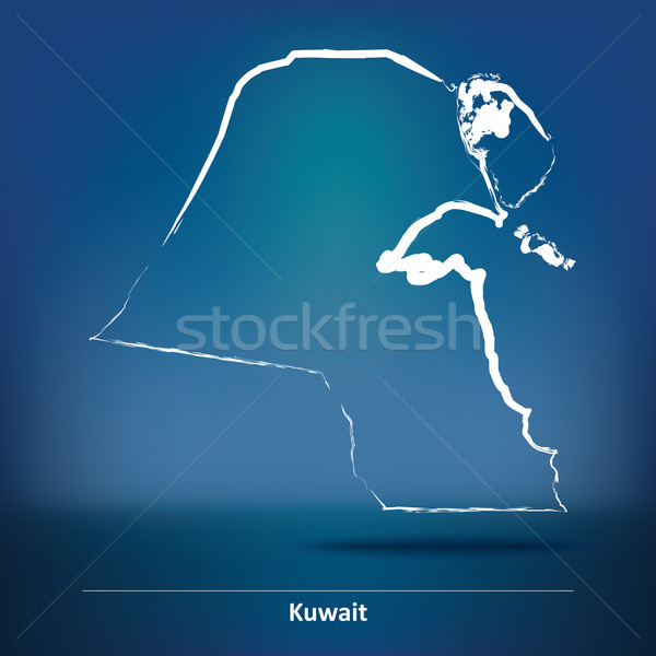 Doodle mappa Kuwait texture mondo arte Foto d'archivio © ojal