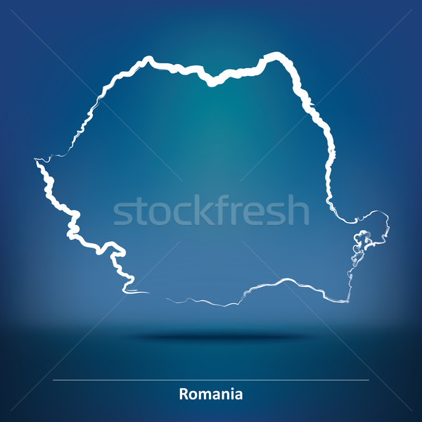 Doodle Map of Romania Stock photo © ojal
