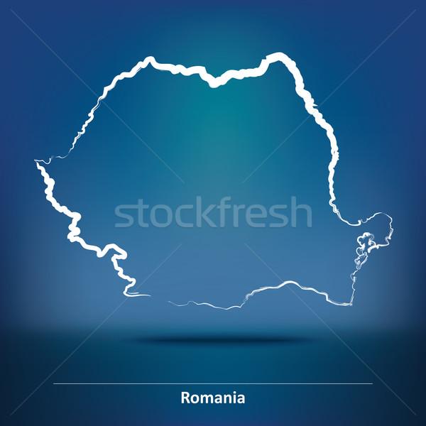 Doodle kaart Roemenië ontwerp achtergrond kunst Stockfoto © ojal