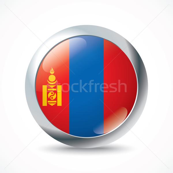 Mongolië vlag knop textuur teken reizen Stockfoto © ojal