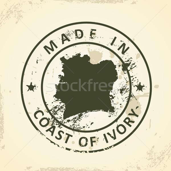 штампа карта побережье слоновая кость Гранж фон Сток-фото © ojal