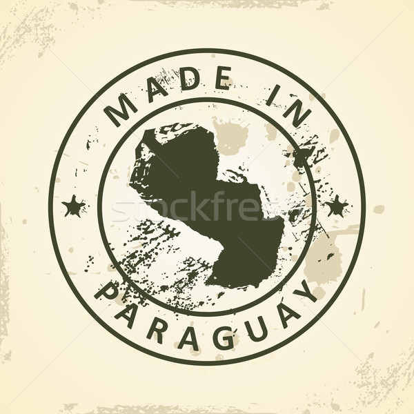 Stamp with map of Paraguay Stock photo © ojal