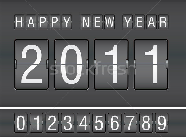 editable 2011 new year on mechanical scoreboard vector