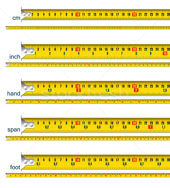 tape measure in cm, cm and inch, cm and hand, cm and span, cm an Stock photo © ojal