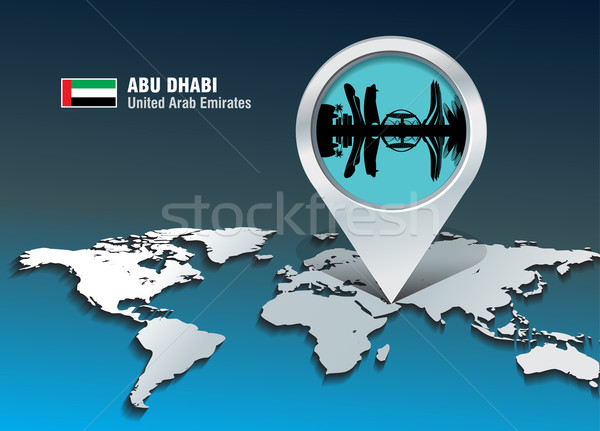Map pin with Abu Dhabi skyline Stock photo © ojal
