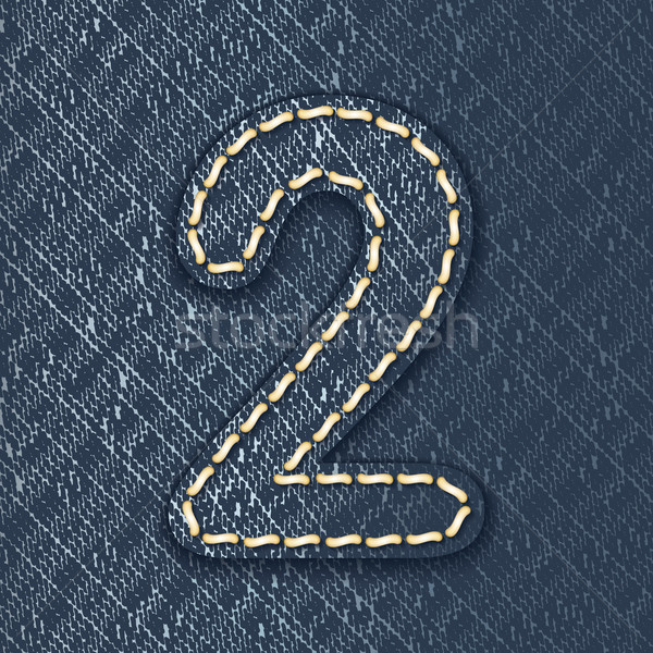 Number 2 made from jeans fabric Stock photo © ojal