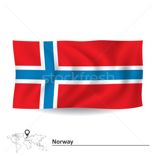 フラグ ノルウェー 抽象的な 世界 赤 シルエット ストックフォト © ojal