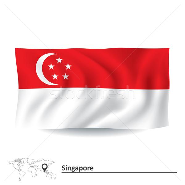 Bandiera Singapore texture mappa luna silhouette Foto d'archivio © ojal