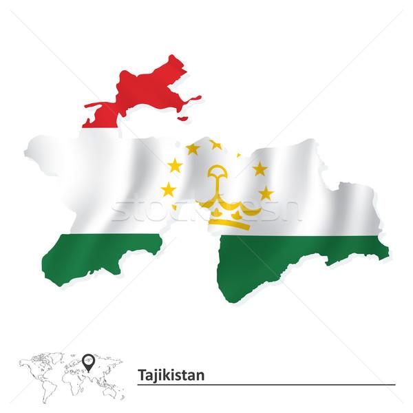 Map of Tajikistan with flag Stock photo © ojal