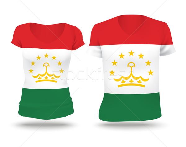 флаг рубашку дизайна Таджикистан женщину человека Сток-фото © ojal